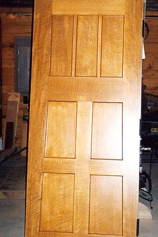 Seven panel interior door.