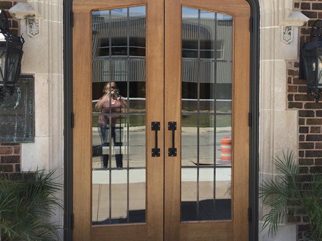 Entrance door to The Howard after restoration.